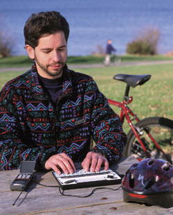 image of man on tty device